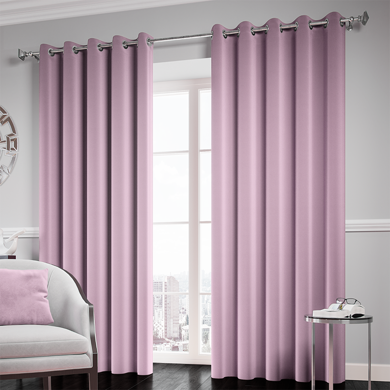 Mauve Ready Made Thermal Blackout Eyelet Ring Top Curtain