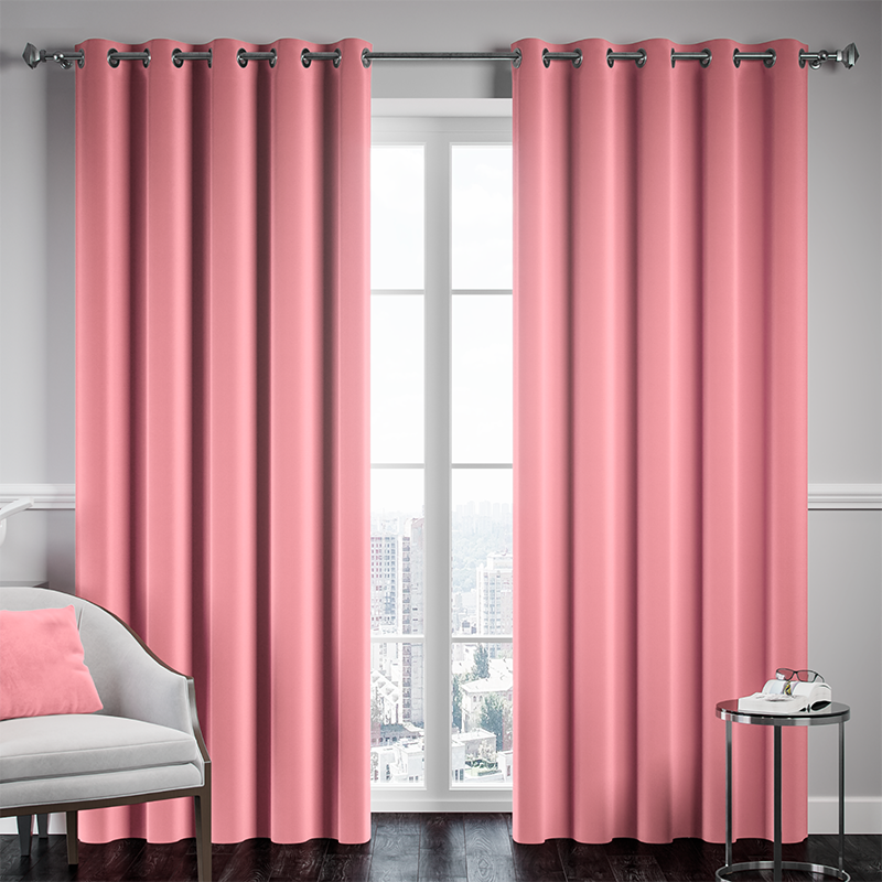 Pink Ready Made Thermal Blackout Eyelet Ring Top Curtain