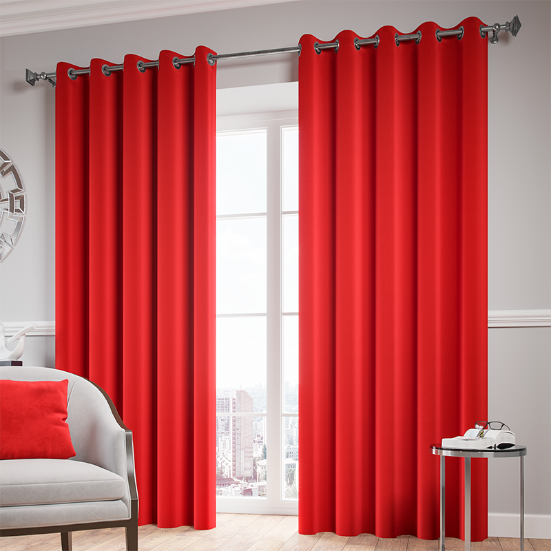 Red Ready Made Thermal Blackout Eyelet Ring Top Curtain