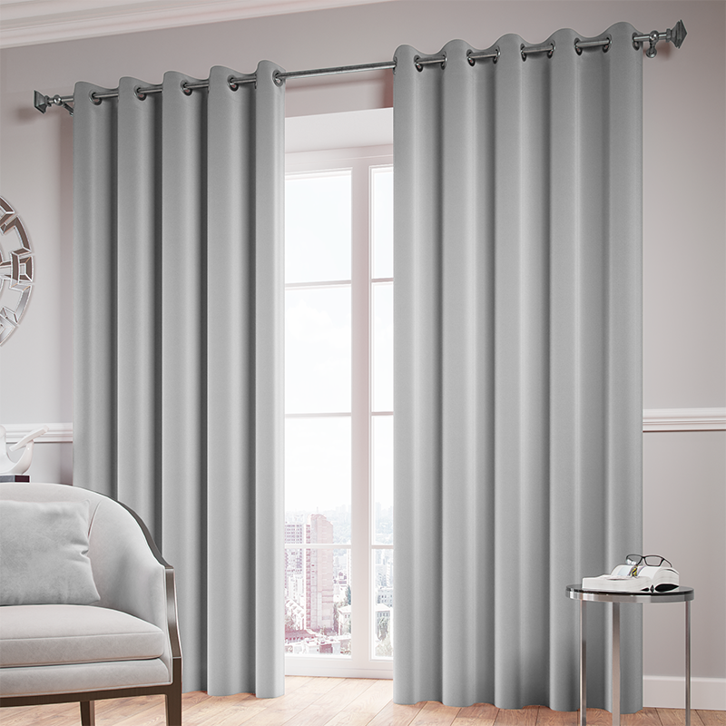 Silver Ready Made Thermal Blackout Eyelet Ring Top Curtain