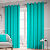 Teal Ready Made Thermal Blackout Eyelet Ring Top Curtain
