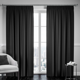 Blackout Pencil Pleat Curtain – Black