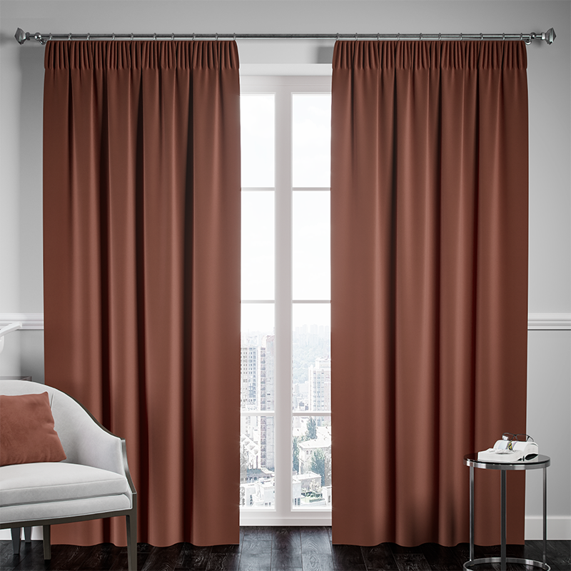 Blackout Pencil Pleat Curtain – Chocolate