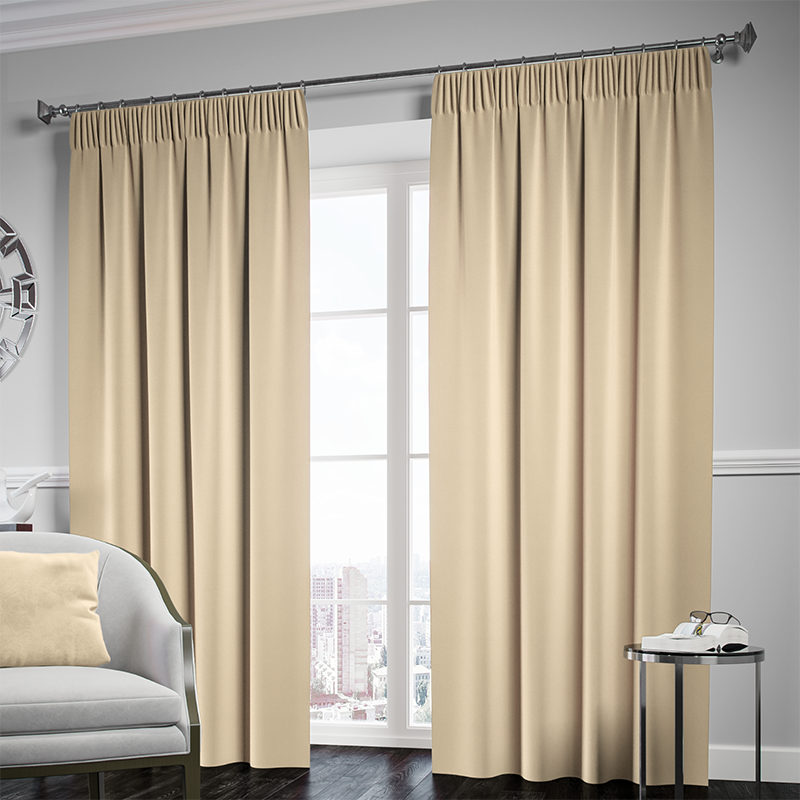 Blackout Pencil Pleat Curtain – Cream