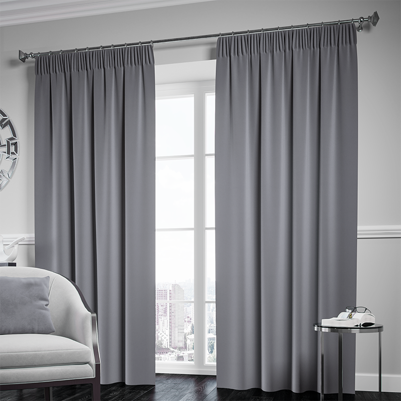 Blackout Pencil Pleat Curtain – Grey