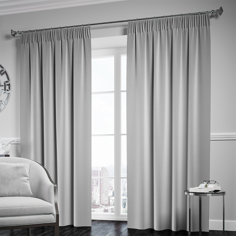 Blackout Pencil Pleat Curtain – Silver