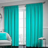 Blackout Pencil Pleat Curtain – Teal