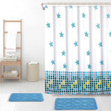 Waterline Printed Bathroom Shower Curtain 180cm x 180cm - Blue Stars