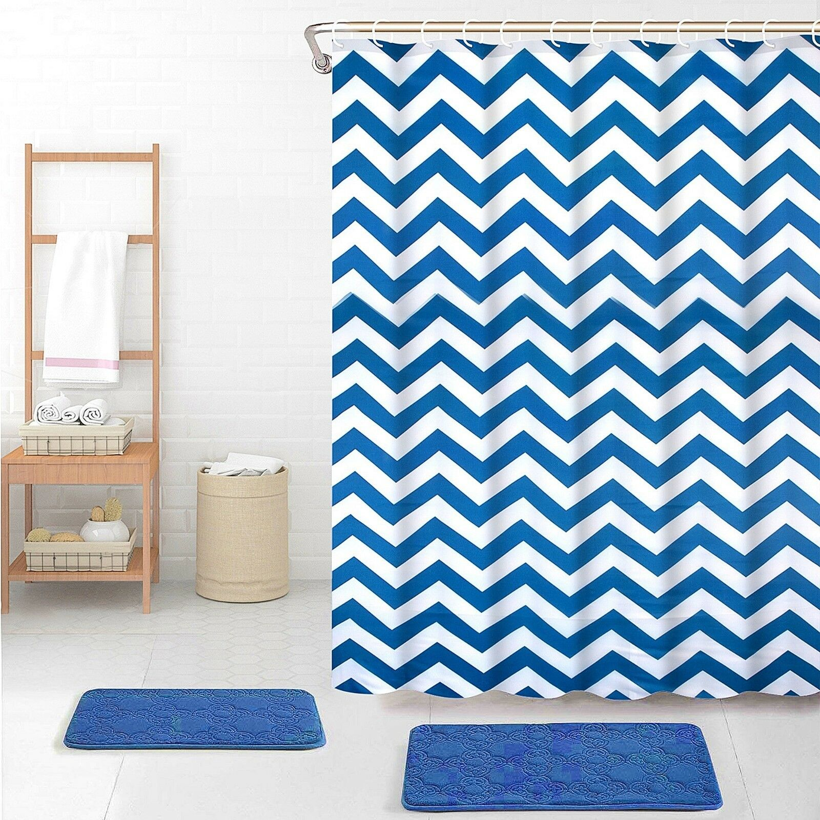 Waterline Printed Bathroom Shower Curtain 180cm x 180cm - Blue ZigZag