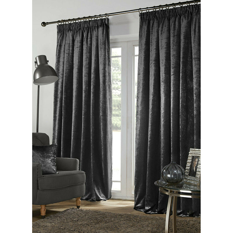 Plush Crushed Velour Faux Velvet Lined Curtains – Charcoal