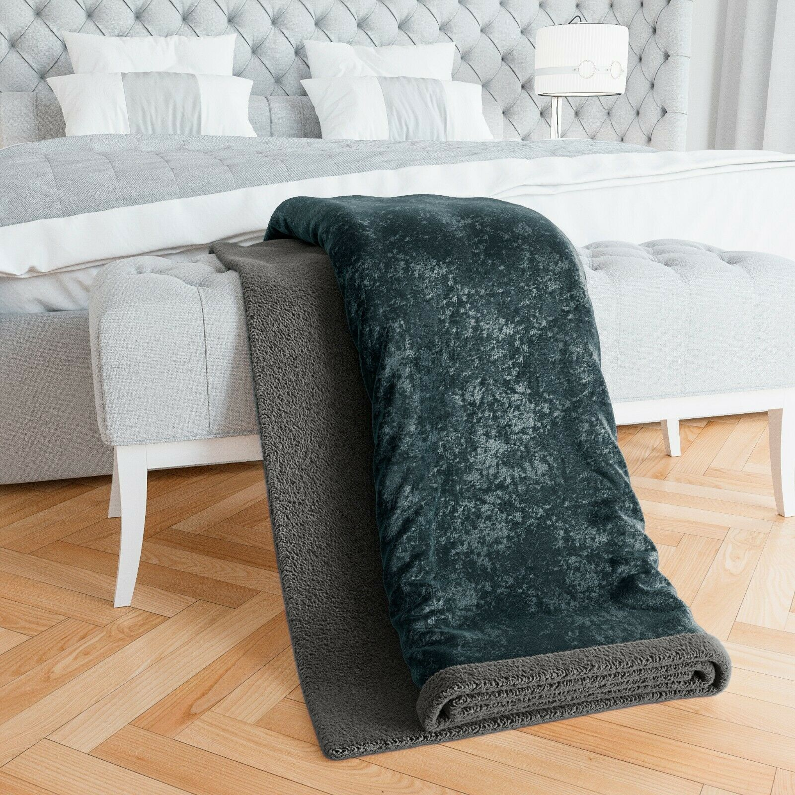 Crushed Velour Sherpa Throw