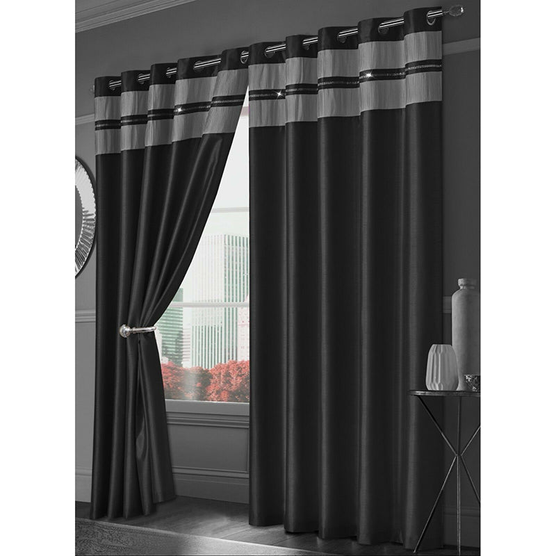 Denise Faux Silk Eyelet Curtains
