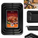 Set of 3 Non Stick Baking Roasting Cooking Trays