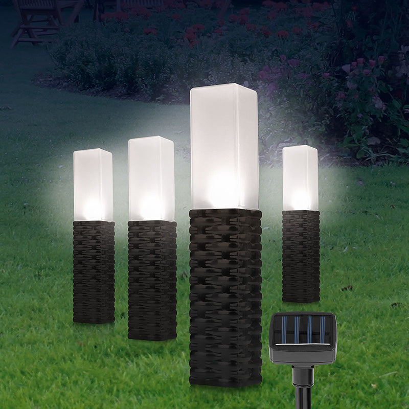 4 Pack Garden Solar Powered Grey Rattan Effect Post Light