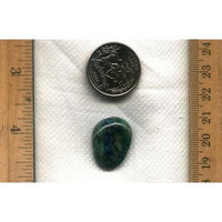 A mixed chrysocolla, malachite and azurite cabochon from nearby Yerington Nevada. This is an un-backed and untreated cabochon, designed by the Nevada Cassidys.