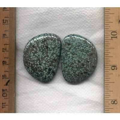 A pair of rare spiderweb Candelaria varscite cabochons designed by the Nevada Cassidys