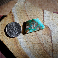 9.6 carat angular blue Stone Mountain Turquoise cabochon with red matrix