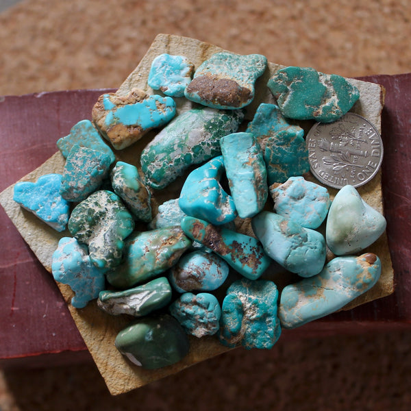 40.1 grams tumbled Stone Mountain Turquoise nuggets with mixed color