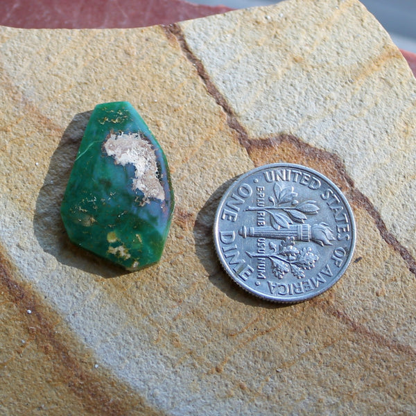 7.1 carat angular cut green Stone Mountain Turquoise cabochon