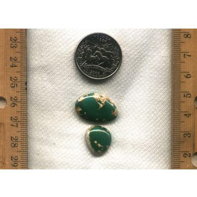 2 matched, green turquoise cabochons. All natural turquoise from northern Nevada.