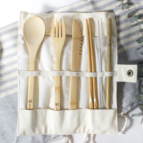 Bamboo Utensil Set With Travel Pouch