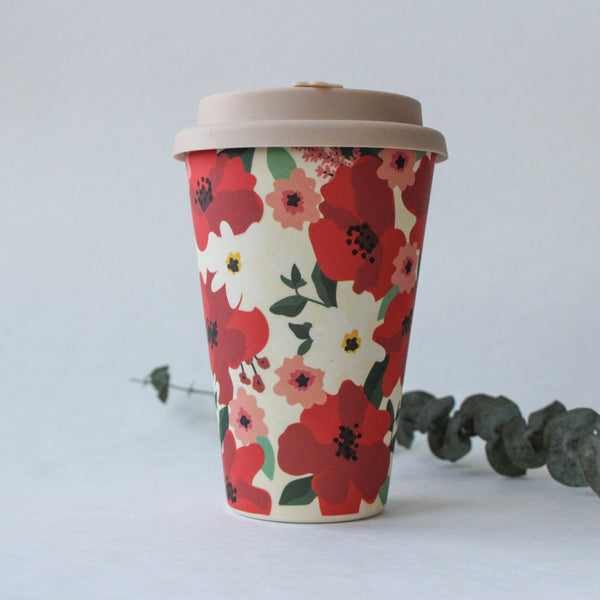 Reusable Bamboo Fibre Travel Mug | Floral