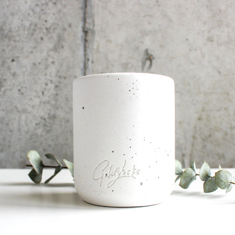 Beeswax Candle in Reusable Concrete Jar | White