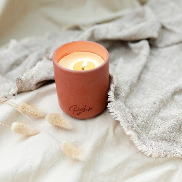 Beeswax Candle in Reusable Concrete Jar | Terracotta