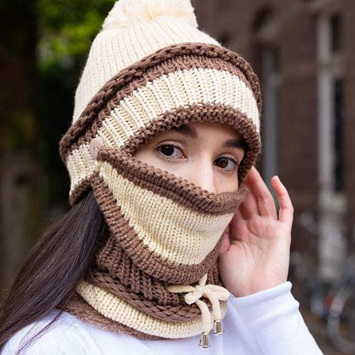 3-in-1 Beanie Set | Hat + Mask + Scarf - WOOHAT