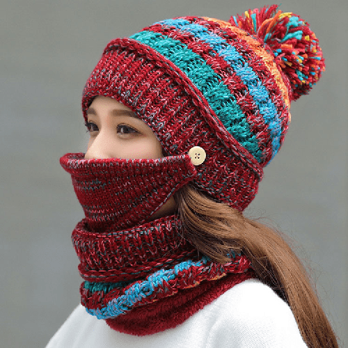 Red colorful 3 in 1 beanie for women