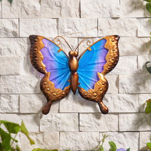 25cm Butterfly Glass Wall Art - Blue/Purple