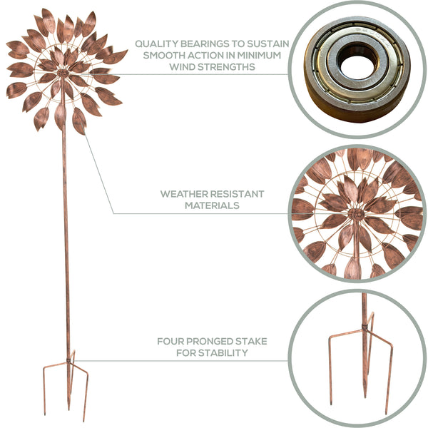 Dancing Leaves - Brushed Copper Wind Spinner