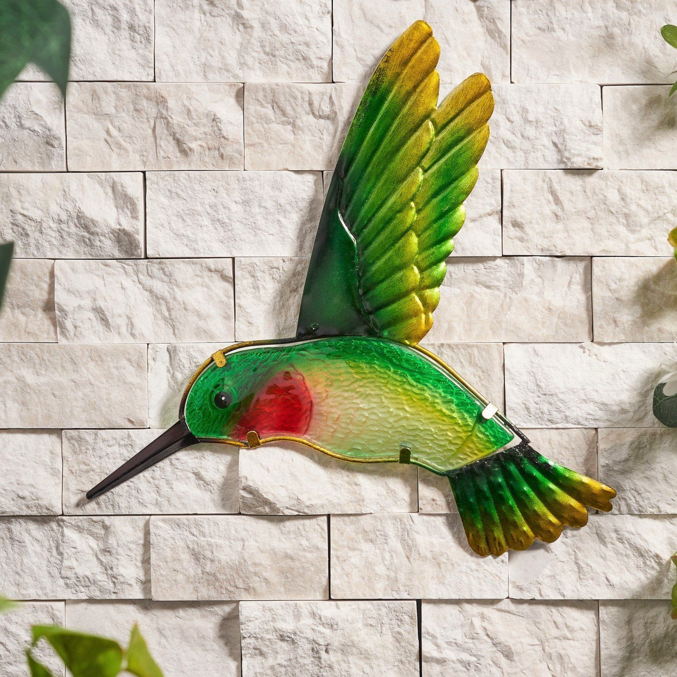 Green Hummingbird Glass Wall Art