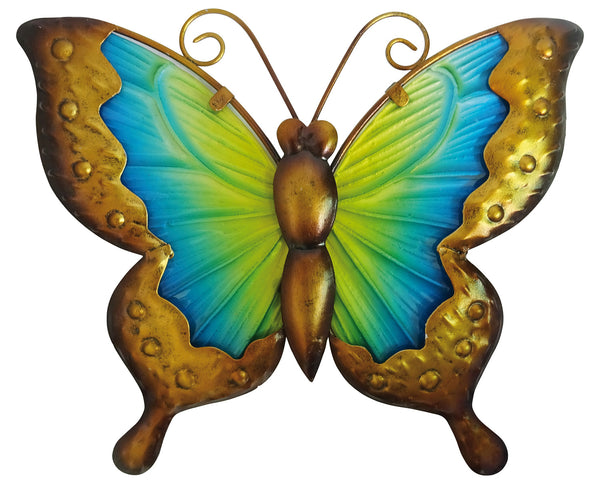 25cm Butterfly Glass Wall Art - Yellow/Blue
