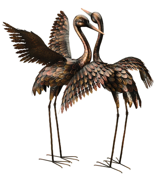 Large Bronze Crane - Wings Up