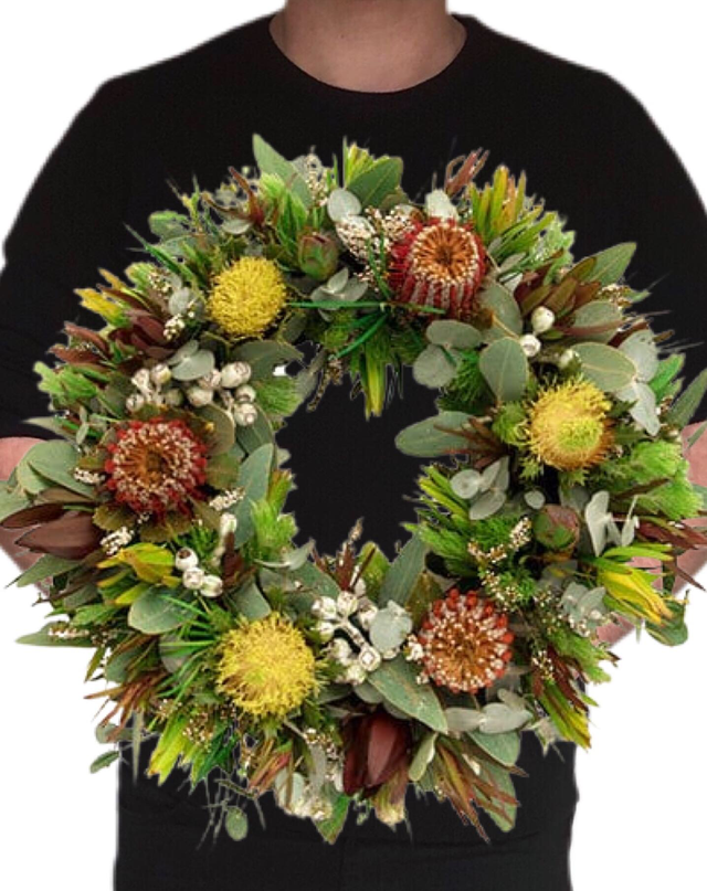 Native Wreath 40cm | McQueen's Florist Adelaide | Florist Delivery Adelaide