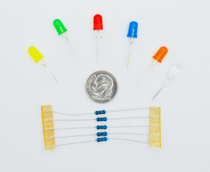 6 Colors 5mm Diffused LED Pack with 150 Ohm Resistors