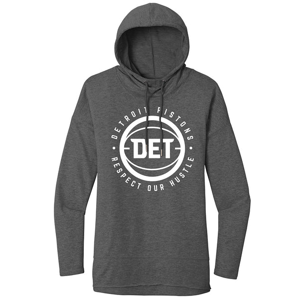 Ladies Pistons DET French Terry Pullover Hooded Sweatshirt