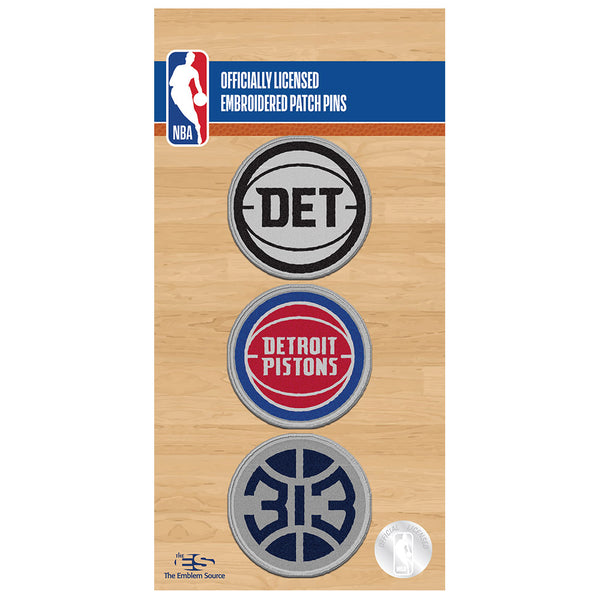 Detroit Pistons 3 Pack Patch Pin Set