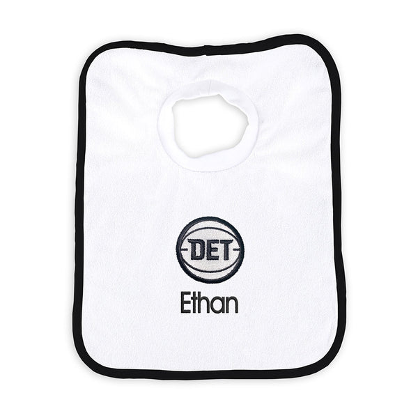 Detroit Pistons Personalized White DET Bib