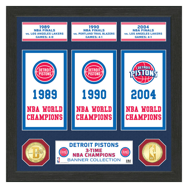 "Detroit Pistons ""Banner"" Bronze Coin Photo Mint"