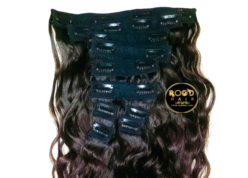 clip in human hair extensions double weft Made With Raw Indian Wavy Hair, 10pcs