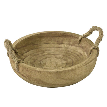 Carving Round Rope-Handled Tray