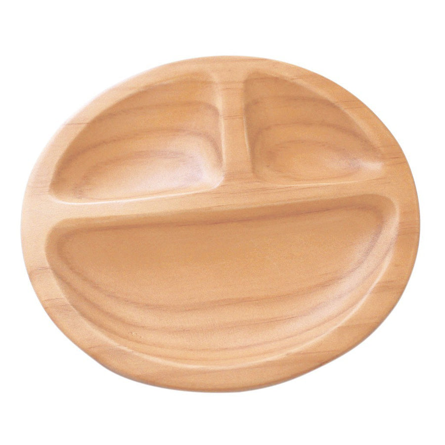 Wooden Round Plate with Three-section