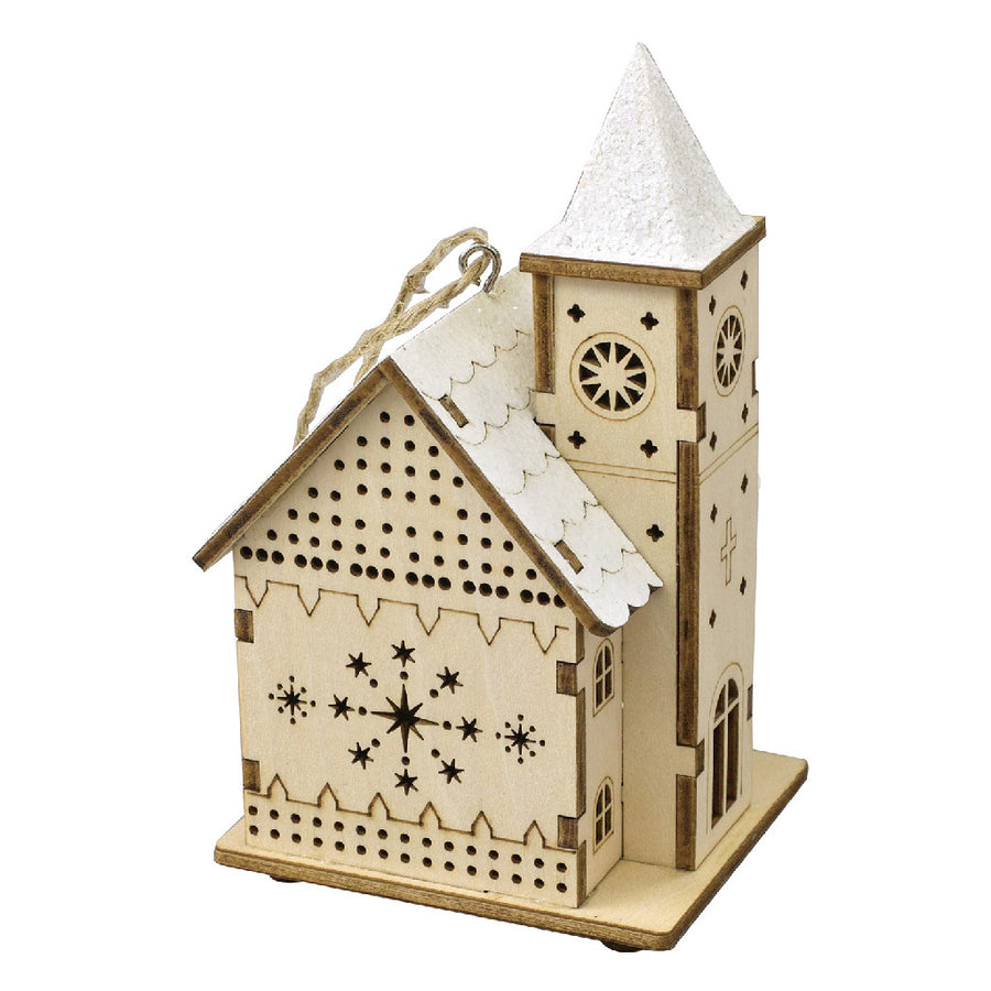 Believe Wooden LED Ornament Church