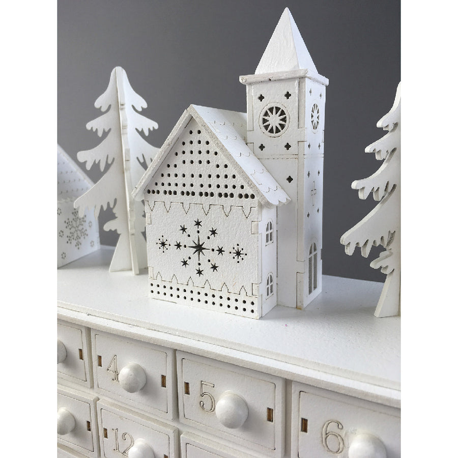 Believe Wooden LED Snow Town Advent Calendar