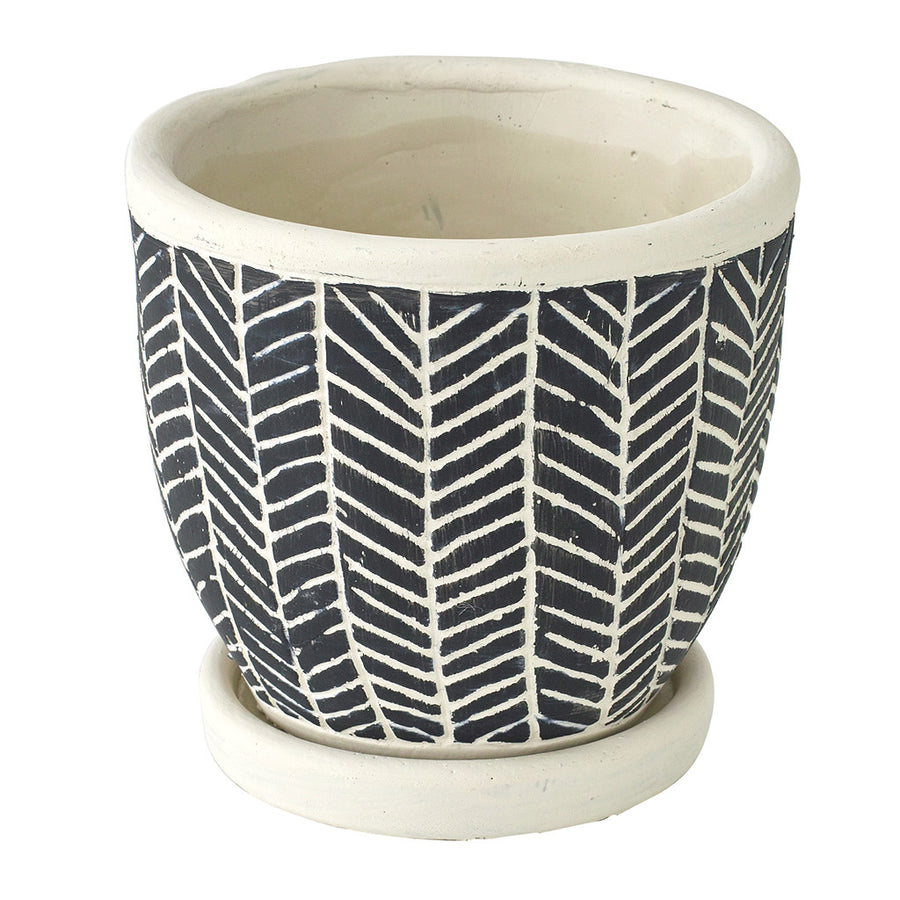 Cement Planter with Saucer - Herringbone Black