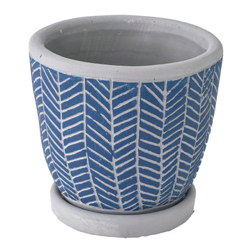 Cement Planter with Saucer - Herringbone Blue