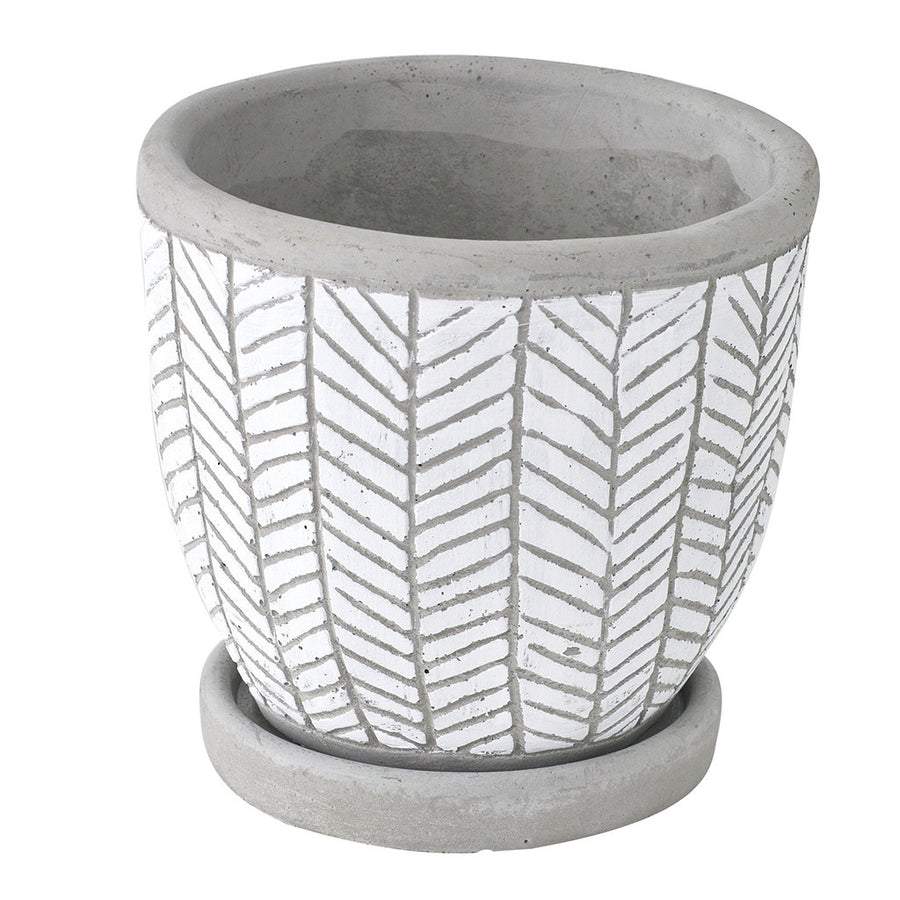 Cement Planter with Saucer - Herringbone White