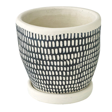 Cement Planter with Saucer - Dot Black